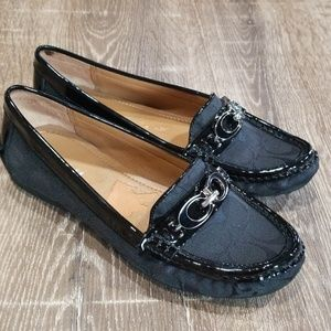 Coach Fortunata black driving loafers size 6.5